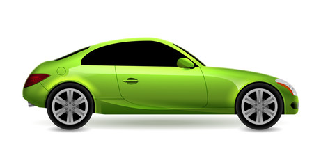 Vector green automobile coupe isolated profile side view. Luxury modern sedan transport auto car. Side view car design illustration