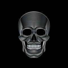Graphic print of stylized silver skull on black background. Linear drawing.
