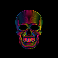 Graphic print of stylized skull in spectrum colors on black background. Linear drawing.