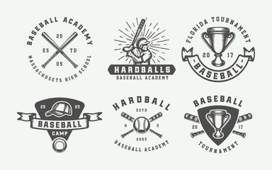 Vintage baseball sport logos, emblems, badges, marks, labels. Monochrome Graphic Art. Vector Illustration.