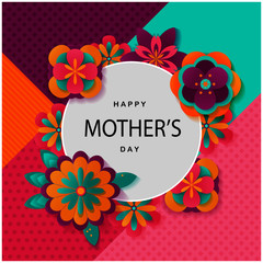 Happy mother's day layout design with circle and flowers. Vector illustration. Design for invitation, flyer, card, greeting.Eps10