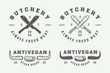 Set of vintage butchery meat, steak or bbq logos, emblems, badges, labels. Monochrome Graphic Art. Vector Illustration.