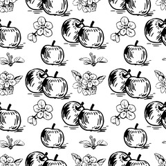 Vector seamless pattern with apples and apple's flowers. Perfect for surface textures, textile, pattern fills and more creative designs. Digital illustration in black and white.