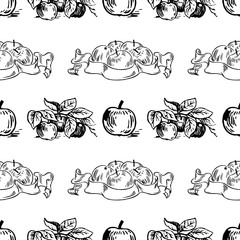Vector seamless pattern with apples labels and apples on the branch. Perfect for surface textures, textile, pattern fills and more creative designs. Digital illustration in black and white.