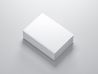 Stack of white blank Books Mockup with textured cover