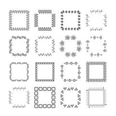 Collection of handdrawn frames. Unique frames for your design. Vector frames.