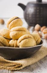 Baci di dama: delicious shortbread pastry filled with chocolate cream