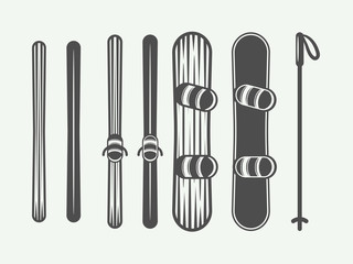 Set of vintage snowboarding or winter sports design elements. Vector illustration. Monochrome Graphic Art.