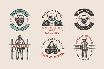 Set of vintage snowboarding, ski or winter sports logos, badges, emblems and design elements. Vector illustration. Monochrome Graphic Art.