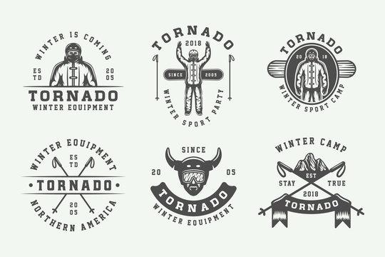 Set of vintage snowboarding, ski or winter sports logos, badges, emblems and design elements. illustration. Monochrome Graphic Art.