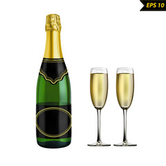 champagne bottle and wine glasses vector illustration isolated on white photorealistic background