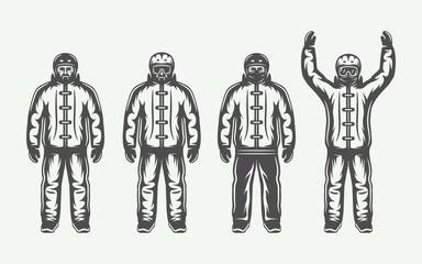 Set of vintage winter sportsman in ski suit. Monochrome Graphic Art. Vector Illustration.