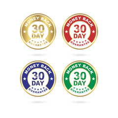 30 Day Money Back Guarantee Icon Vector Set