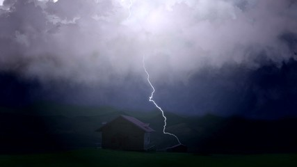 Canvas Prints Countryside Disastrous thunderstorm causes severe damage to farmers home, lightning