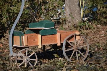 A wooden wagon for a landscape decoration