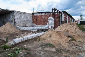 construction of a garage made of bricks