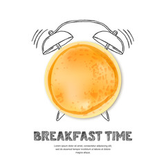 Tasty pancake, letters and hand drawn watercolor alarm clock isolated on white background. Vector design for breakfast menu, cafe, restaurant. Fast food background.