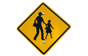 School zone sign isolated on white background