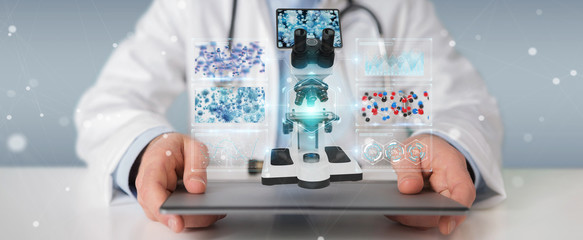 Doctor using modern microscope with digital analysis 3D rendering