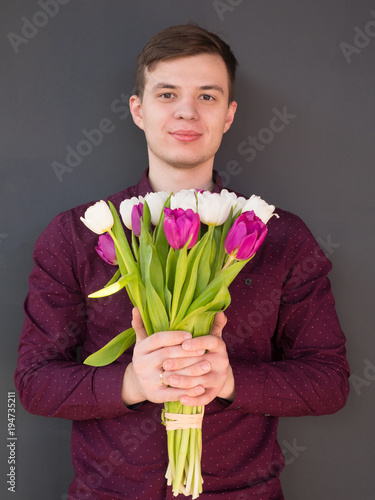 Man Holding Tulips Gift Card Template Poster Or Greeting Card