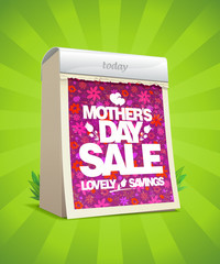Mother's day sale banner with tear-off calendar