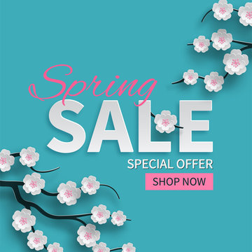 Spring sale floral banner with paper cut blooming pink cherry flowers on blue background for seasonal design of banner, flyer, poster, web site. Paper cut out art style, vector illustration