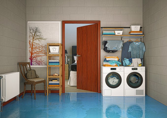 stanza lavanderia, lavatrice, biancheria, illustrazione 3d