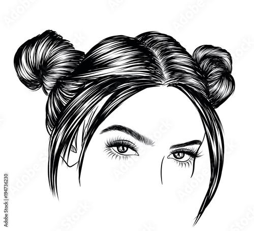Beautiful Girl With Luxurious Cute Bun Hairstyle Idea For Card
