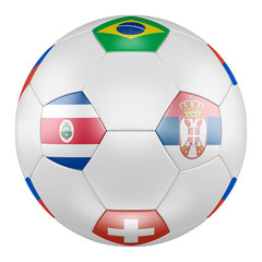 3D soccer ball with group E flags of Brazil, Switzerland, Costa Rica, Serbia on white background. Match between Costa Rica and Serbia