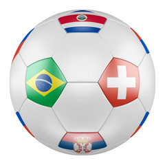 3D soccer ball with group E flags of Brazil, Switzerland, Costa Rica, Serbia on white background. Match between Brazil  and Switzerland