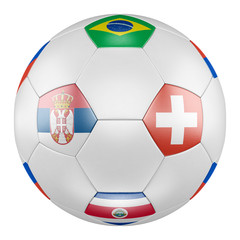 3D soccer ball with group E flags of Brazil, Switzerland, Costa Rica, Serbia on white background. Match between Serbia and Switzerland