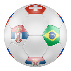 3D soccer ball with group E flags of Brazil, Switzerland, Costa Rica, Serbia on white background. Match between Serbia and Brazil
