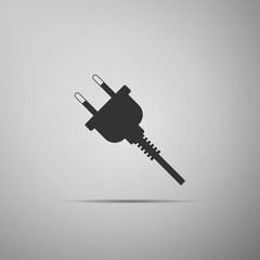 Electric plug icon isolated on grey background. Concept of connection and disconnection of the electricity. Flat design. Vector Illustration