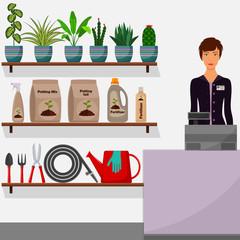Gardening shop. Flower shop interior. Woman seller behind the counter. Houseplants on shelves, tools for gardening, potting soil, various fertilizers in bottles. Vector illustration.