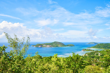 View on Therese island from sans soucis road (panoramic point of view), Seychelles, Mahe Island