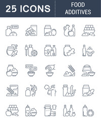 Set Vector Line Icons of Food Additives.