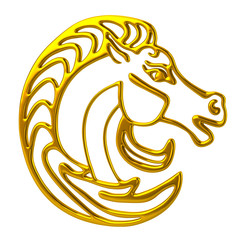 3d illustration gold royal horse head logo