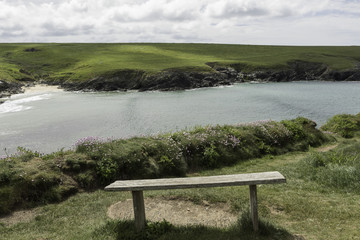 Empty bench with view over bay