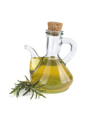 olive oil in a glass bottle isolated on white background.