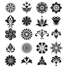 Vector floral set. Spring or summer design for invitation, wedding or greeting cards. Design elements in graphic style. White and black ornament