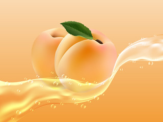 Delicious juicy apricot in spray of juice. Realistic style. Vector illustration.