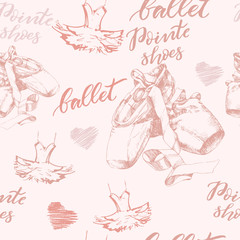 Seamless background with hand drawn  ballet pointes shoes