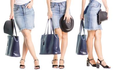 Set female legs in black shoes denim skirt hat classic hand bag in hand