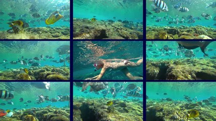 Wall Mural - girl teenager  and snorkeling and coral reef