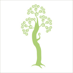 light olive color with curls isolated tree on a white background