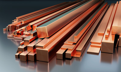 Stack of copper bars on dark background with reflections on the ground. Different sizes - 3D illustration