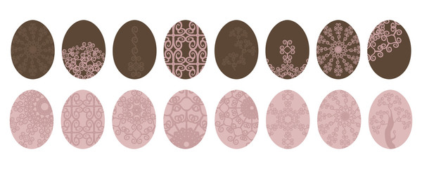 set of easter pastel pink and brown color eggs with pattern isolated on white background