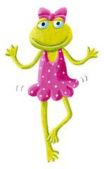 Funny cute frog ballet dancer