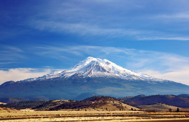 View of snow-capped Mount Shasta