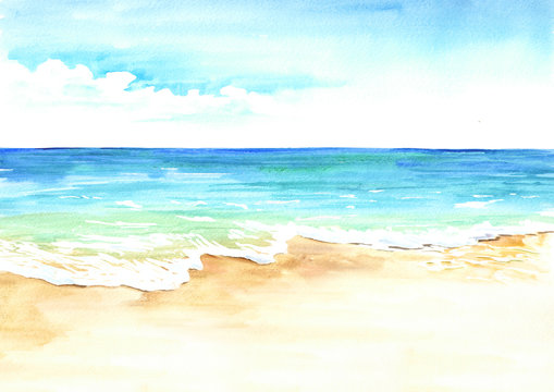Summer tropical beach with golden sand and wave. Hand drawn watercolor illustration